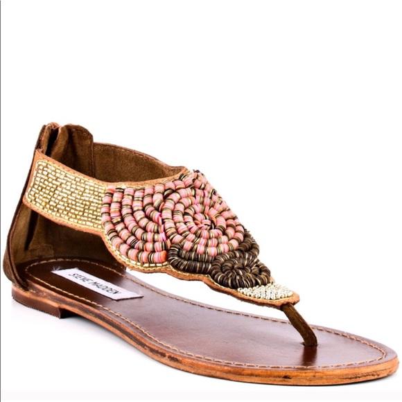 4b50928daa5 Steve Madden Pharroh Sequined Beaded Sandals 9. M 5aa1e9eec9fcdf877aca6b79